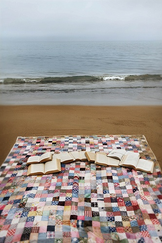 reading by the ocean