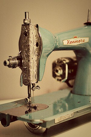 vintage blue sewing machine